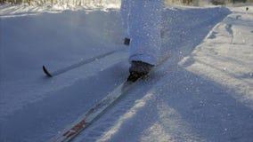 Skiing close up