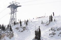 Skiing competition start. International Free Skiing Competition at Snowbird Utah 4 Competitor Start Stock Photo