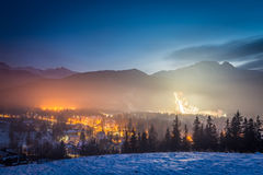 Skiing competitions in Zakopane in winter at dusk Stock Image