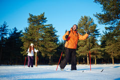 Skiing in crocc-country Stock Photos