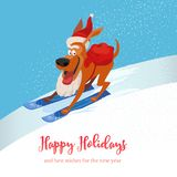 Skiing cute dog icon Royalty Free Stock Photography
