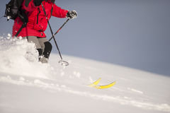 Skiing in deep snow. Fast skiing in deep snow Royalty Free Stock Image
