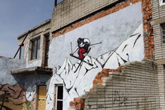 Skiing. Destroyed and abandoned building with graffiti Stock Images