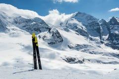 Skiing on Diavolezza, Switzerland. Skiing on Diavolezza in Switzerland Royalty Free Stock Images