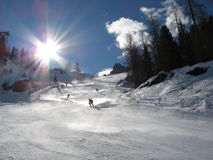 Skiing in the Dolomites Mountains Stock Photography