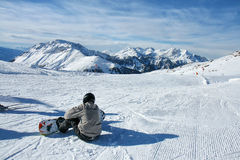 Skiing on the dolomites, Val di Fiemme, Italy Royalty Free Stock Photos