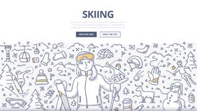 Skiing Doodle Concept. Doodle illustration of female skier on ski resort. Skiing concept for web banners, hero images, printed materials royalty free illustration