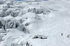 Skiing down the giant's cascade stock photography