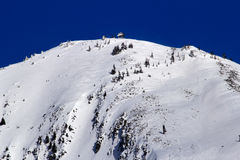 Skiing Down Snowy Mountain Snoqualme Washington Royalty Free Stock Photos