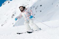 Skiing downhill Royalty Free Stock Photo