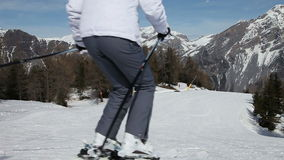 Skiing Downhill stock footage