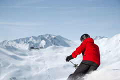 Skiing downhill panorama Royalty Free Stock Photos