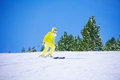 Skiing downhill Royalty Free Stock Images