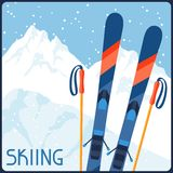 Skiing equipment on background of mountain winter Stock Photography