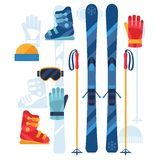 Skiing equipment icons set in flat design style Royalty Free Stock Photography