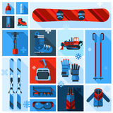 Skiing Equipment Icons Set Stock Photo