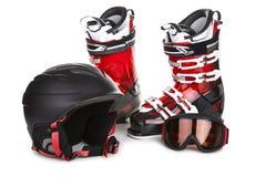 Skiing equipment isolated on white Stock Photo