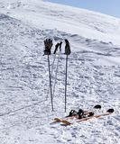 Skiing equipment on ski slope at sunny day Royalty Free Stock Photography