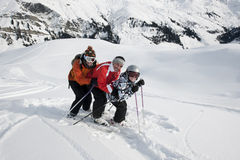 Skiing, family off piste. Areches, Savoie, Beaufortain France Stock Photos