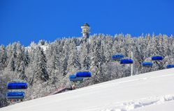 Skiing at Feldberg. Black Forest, Germany. At 1,493 metres 4,898 ft the Feldberg in the Black Forest is the highest mountain in Baden-Württemberg, and the Stock Photo