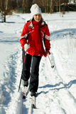 Skiing in the forest Royalty Free Stock Photography