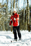 Skiing in the forest Stock Image