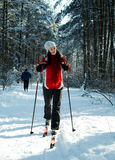 Skiing in the forest Royalty Free Stock Image