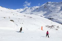 Skiing in France Royalty Free Stock Photo
