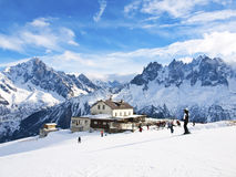 Skiing in French Alps in view of Chamonix Aguilles Royalty Free Stock Photography