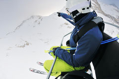 Skiing on fresh snow at winter season Stock Photography