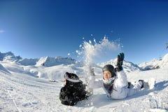 Skiing on fresh snow at winter season at sunny day Royalty Free Stock Image