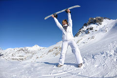 Skiing on fresh snow at winter season at sunny day Royalty Free Stock Photography