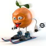 Skiing funny 3d fruit character stock illustration