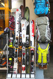 Skiing gear in alpine store in Chamonix, France Stock Photography