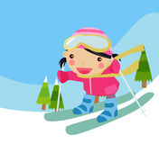 Skiing girl Stock Photos