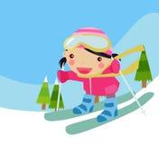 Skiing girl. Illustration of a cute skiing girl Stock Photos