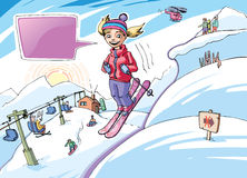 Skiing girl Stock Photo