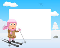 Skiing Girl in the Park Horizontal Frame Royalty Free Stock Image