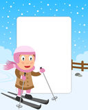Skiing Girl Photo Frame. Photo frame, invitation card or page for your scrapbook. Subject: a girl skiing in a park. Eps file available Stock Photo