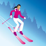Skiing girl. Girl skiing on a slope vector illustration