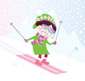 Skiing girl on snowy hill Royalty Free Stock Photo