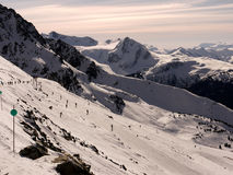 Skiing the glacier. Beautiful mountain landscape with beginners ski run at Whistler Blackcomb the winter Olympics Place. British Columbia Canada Royalty Free Stock Photography