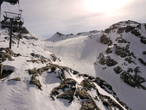 Skiing the glacier. Beautiful mountain landscape with beginners ski run at Whistler Blackcomb the winter Olympics Place. British Columbia Canada Royalty Free Stock Photo