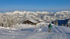 Skiing in Gstaad Royalty Free Stock Photos