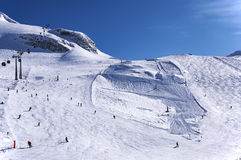 Skiing on Hintertux Glacier Royalty Free Stock Photo