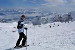 Skiing on Kitzsteinhorn Glacier, Hohe Tauern, Austria Royalty Free Stock Image