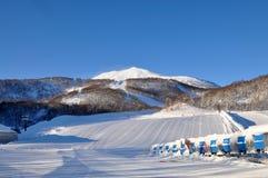 Skiing in Hokkaido, Japan. Skiing in deep powder Hokkaido, Japan royalty free stock photo
