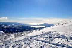 Skiing in Hokkaido, Japan. Skiing in deep powder Hokkaido, Japan stock photo