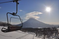 Skiing in Hokkaido, Japan. Skiing in deep powder Hokkaido, Japan Royalty Free Stock Photography
