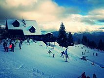 Skiing holidays. Perfect day for skiing on mountains Royalty Free Stock Photos